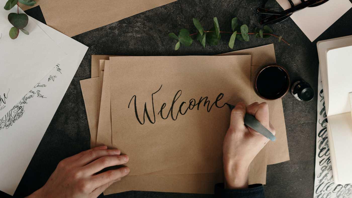 Papier Handschrift Welcome